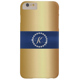 Modern Monogram Blue Belt Gold iPhone 6 Plus Case