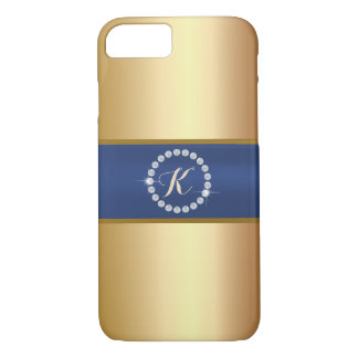 Modern Monogram Blue Belt Gold iPhone 7 Case
