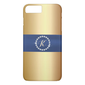 Modern Monogram Blue Belt Gold iPhone 7 Plus Case