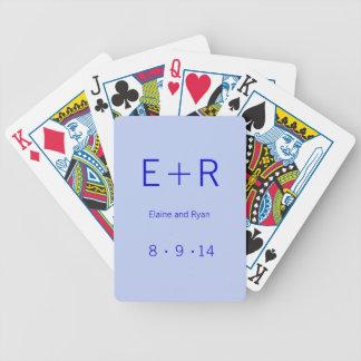 Modern Monogram - Blue Bicycle Playing Cards
