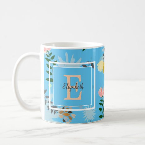 Modern Monogram Blue Floral Pattern Coffee Mug