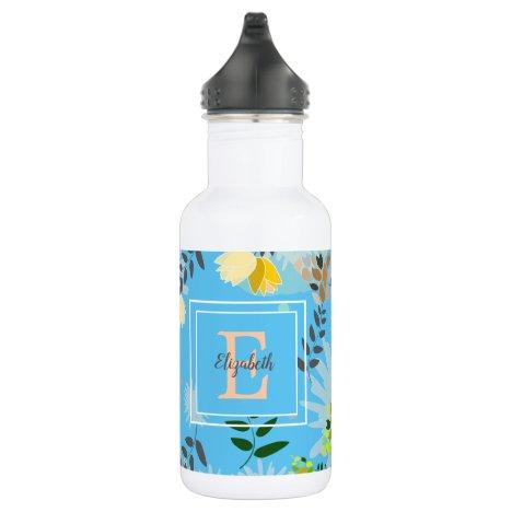 Modern Monogram Blue Floral Pattern Stainless Steel Water Bottle
