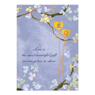 Modern Monogram Blue Floral Wedding Creamy Back Announcement