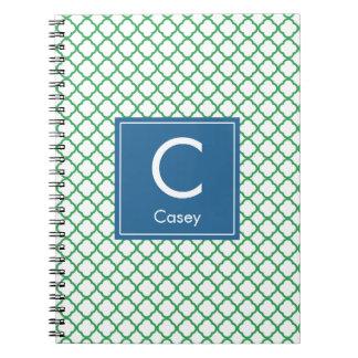 Modern Monogram (Blue/Green) Notebooks