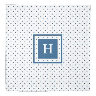 Modern Monogram Blue Polka Dot Pattern on White Duvet Cover