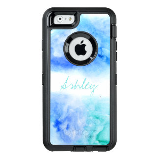 Modern monogram blue turquoise beach watercolor OtterBox iPhone 6/6s case