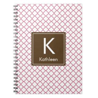 Modern Monogram (Brown/Pink) Spiral Note Books