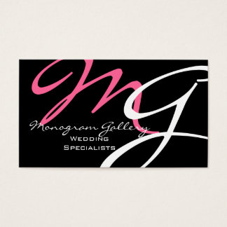 Modern Monogram Business Cards Template Pink