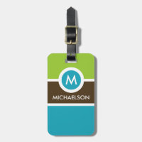 Modern Monogram Business Luggage Tag - Green/Blue