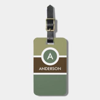 Modern Monogram Business Luggage Tag - Green/Brown