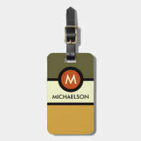 Modern Monogram Business Luggage Tag - Green/Gold