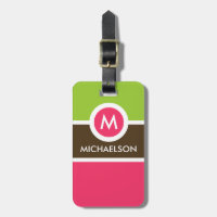 Modern Monogram Business Luggage Tag - Pink/Green