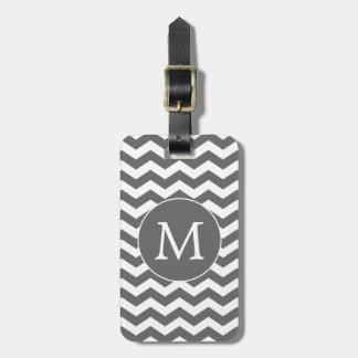 Modern Monogram Charcoal Chevron Stripes Luggage Tag