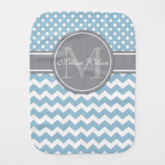 Modern Monogram Chevron Zigzag Stripes Burp Cloth