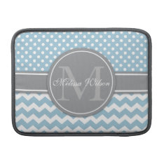 Modern Monogram Chevron Zigzag Stripes Macbook Air Sleeve at Zazzle