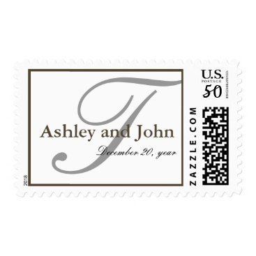 Modern Monogram chocolate and white Postage