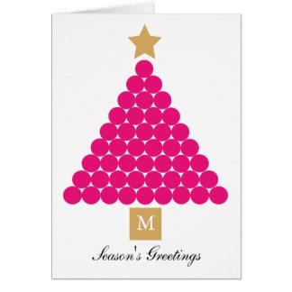 Modern Monogram Christmas Tree Card - Pink