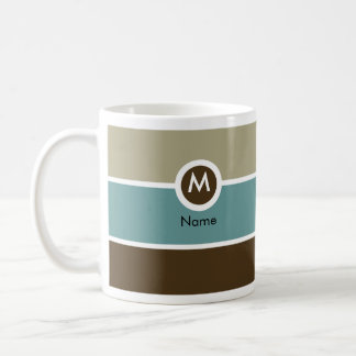 Modern Monogram Coffee Mug - Blue/Brown