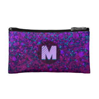 Modern Monogram Confetti Glitter Makeup Bag