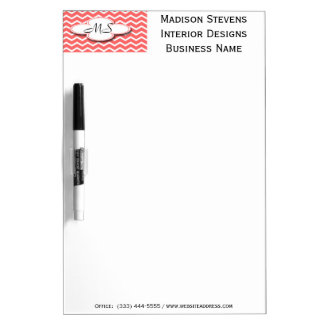 Modern Monogram Coral Zig Zag Dry Erase Board