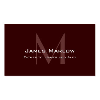 Modern Monogram Dark Brown Daddy Calling Card Double-Sided Standard Business Cards (Pack Of 100)