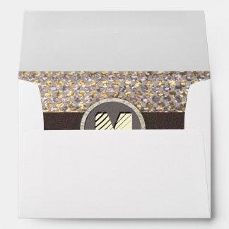 Modern Monogram Elegant Glitter Pattern Envelope