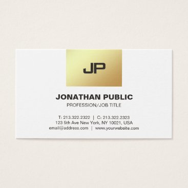 Lawyer Themed Modern Monogram Elegant Gold White Professional Business Card