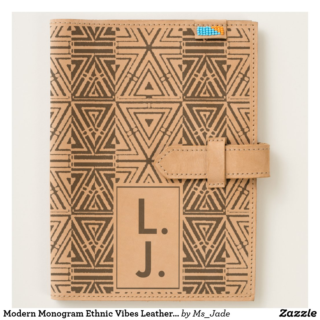 Modern Monogram Ethnic Vibes Leather Journal
