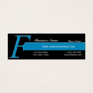 Modern Monogram F in Aqua Blue Mini Business Card