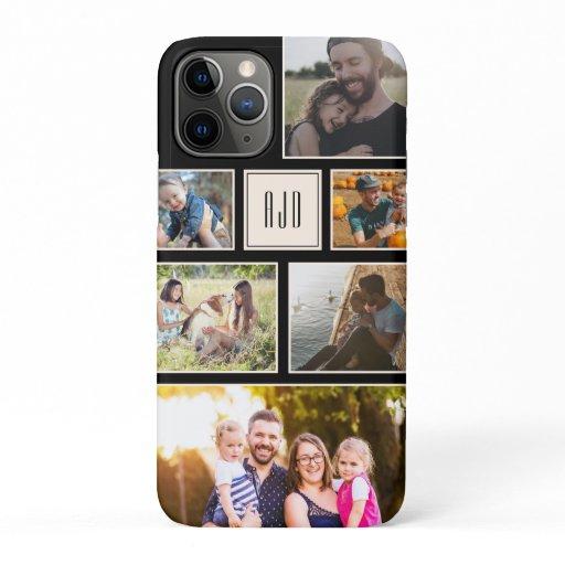 Modern Monogram Family Photo Collage Minimal iPhone 11 Pro Case