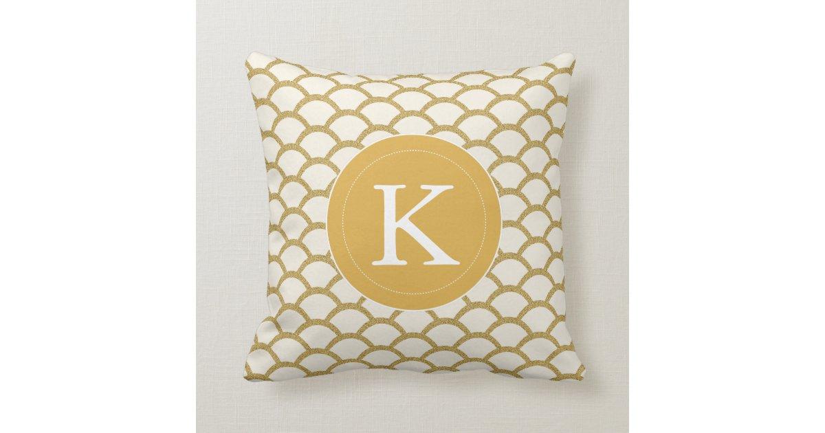 Modern Monogram Faux Gold Glitter Scallop Pillow Zazzle