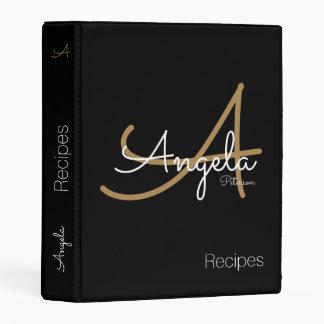 modern monogram for chef recipes, mini binder