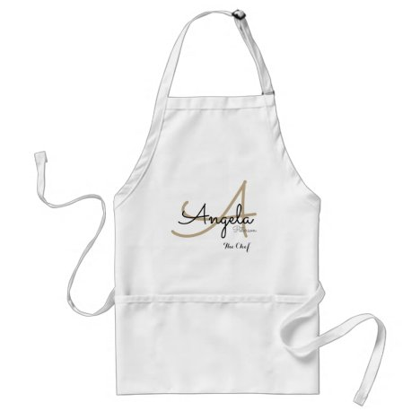 modern monogram for the chef cuisine adult apron