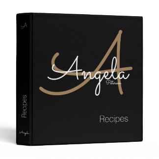 modern monogram for the chef recipes, black 3 ring binder
