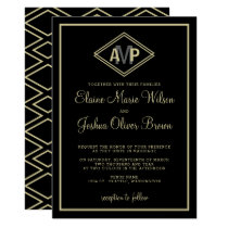 modern monogram geometric wedding invitations