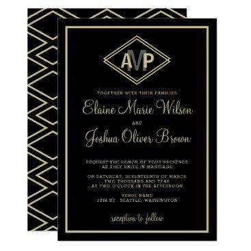 modern monogram geometric wedding invitations