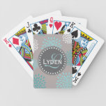 Modern monogram gift gray blue teal playing cards