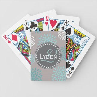 Modern monogram gift gray blue teal playing cards