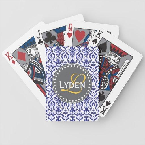 Modern monogram gift navy blue teal playing cards