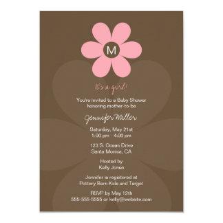 Modern Monogram Girl Baby Shower Invitation