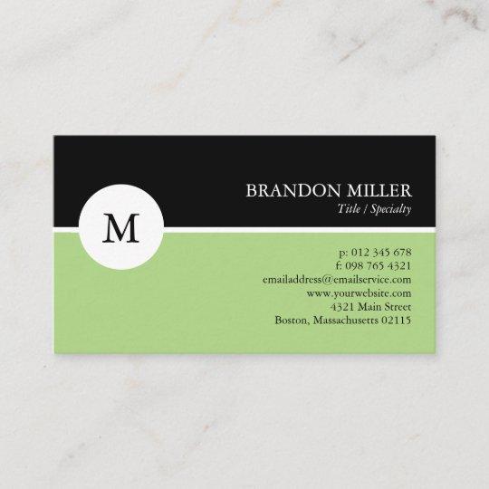 Modern monogram green black one sided business card zazzle modern monogram green black one sided business card colourmoves