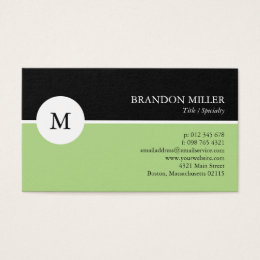 One sided business cards choice image business card template one sided business cards templates zazzle modern monogram green black one sided business card colourmoves reheart Images