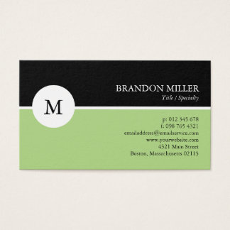 Modern Monogram Green & Black One Sided Business Card