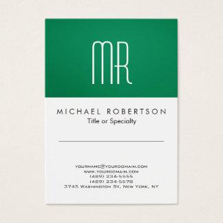 Modern Monogram Green White Clean Business Card