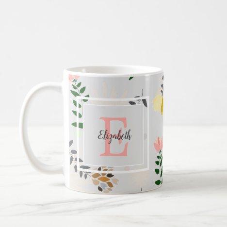 Modern Monogram Grey Floral Pattern Coffee Mug