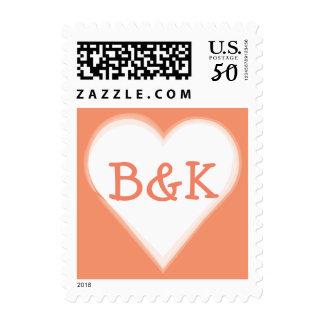 Modern Monogram Heart for Weddings, Coral Orange Postage