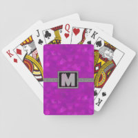 Modern Monogram Hot Pink and Silver Playing Cards