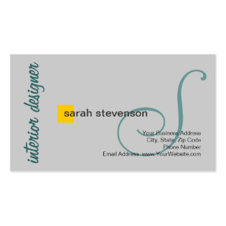 Modern Monogram Interior Designer Business Card