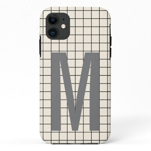 Modern monogram ivory gray grid pattern iPhone 11 case