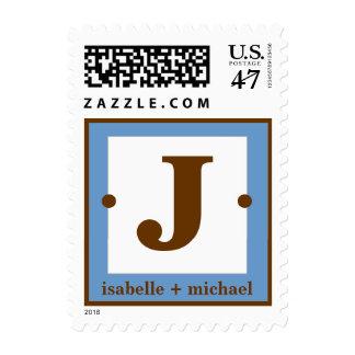 Modern Monogram J Blue & Chocolate Brown Postage